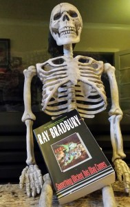 "The novel ""Something Wicked This Way Comes"" with our friend skeleton."
