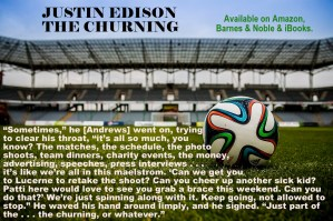 The Churning teaser image, text and soccer stadium