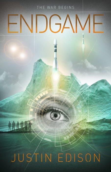 """Endgame cover by Greg Simanson Designs. Cover shows characters, rockets and a woman's eye against a green-ice background and twin suns, orange lettering. """"The war begins"""" is added at the top."""