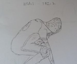 Pen sketch of a USMNT soccer player kneeling and covering his face