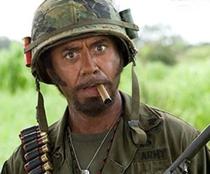 Justin Edison's blog on humor includes Robert Downey Jr. in blackface in Tropic Thunder.