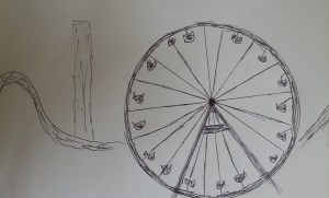 Sketch of a darkened ferrias wheel, roller coaster and more for Justin Edison's poem 'LP1.'
