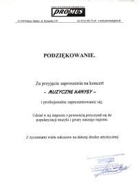 Podziękowanie za koncert Muzyczne Hanysy 2002