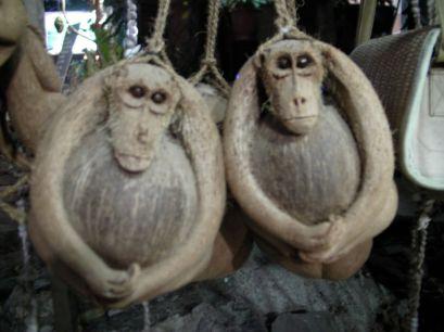 Cocoception - wyrzeźbione z kokosa małpy trzymające kokosa