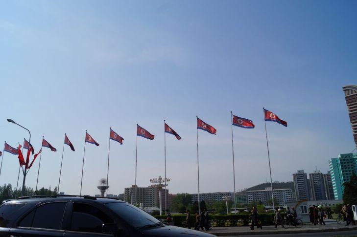 Pjongjang - flagi na mieście