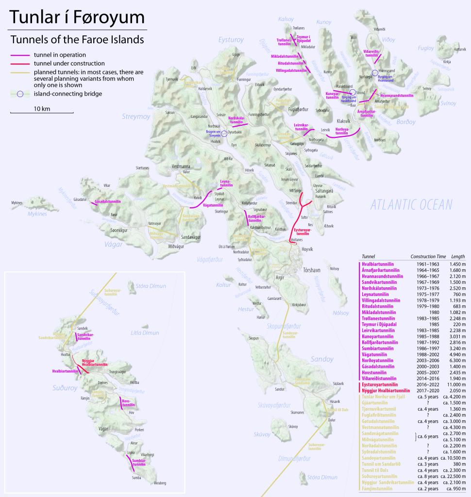 Wyspy Owcze - mapa tuneli