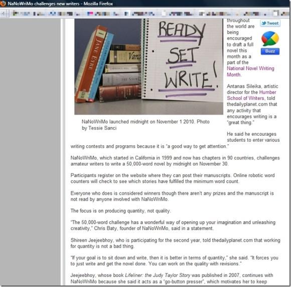 thedailyplanet article on nanowrimo with Shireen Jeejeebhoy 2010-11-01