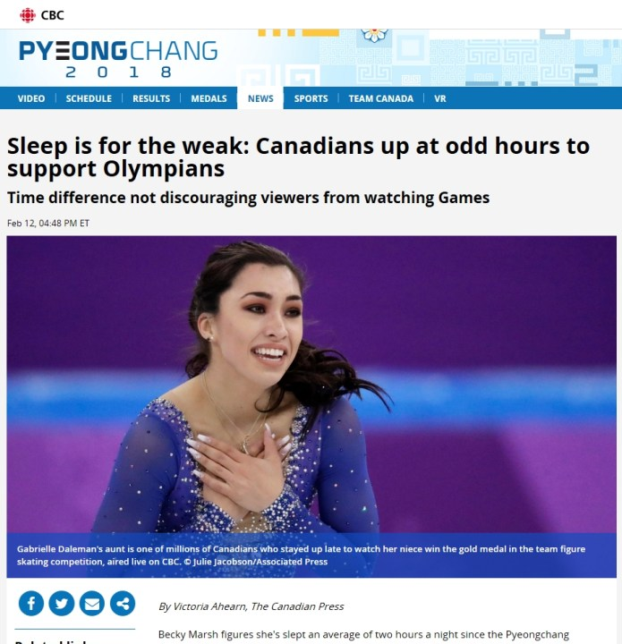 Olympics Junkies article CP article on CBC Website