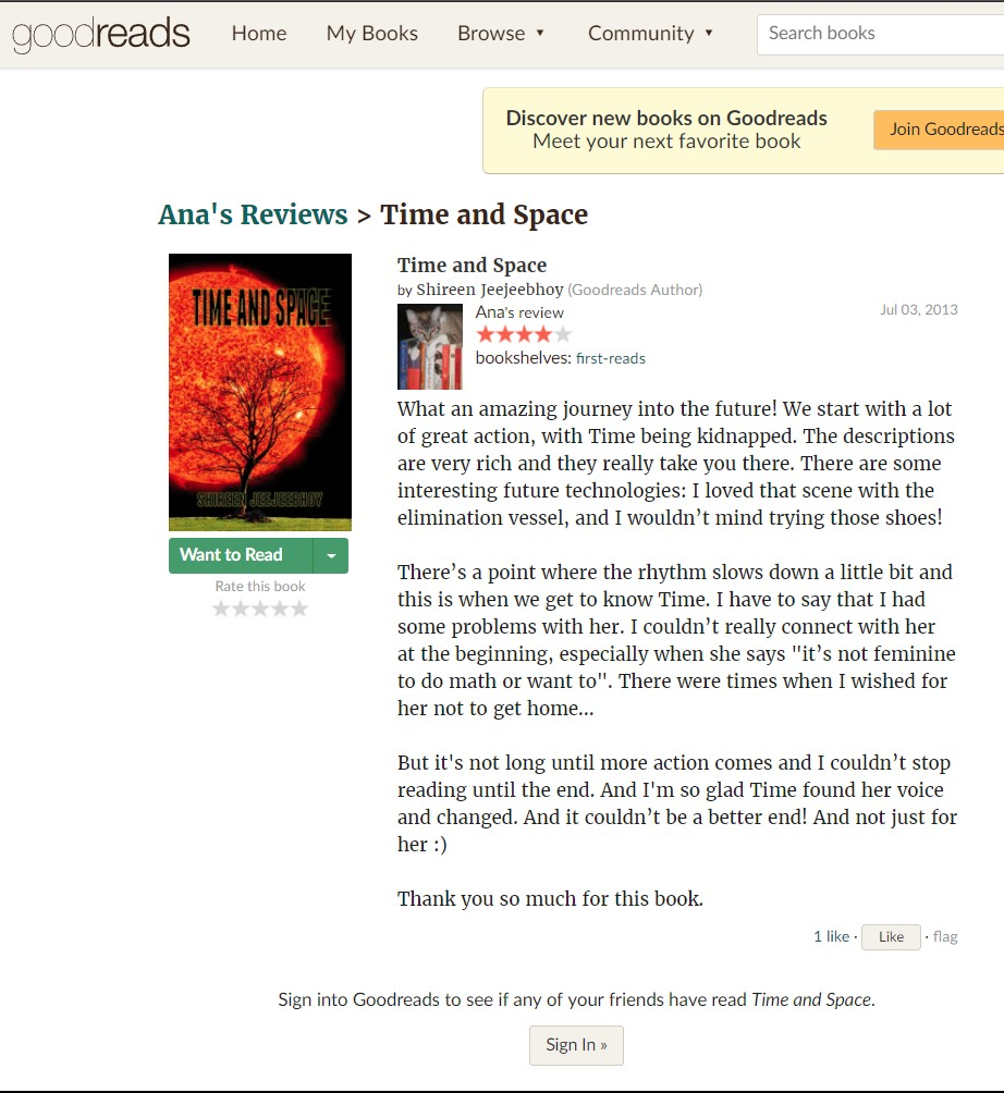 Ana Goodreads Time and Space Review 3 Jul 2013