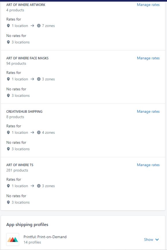 Print screen of shipping profiles for Art of Where, Creativehub, and Printful.