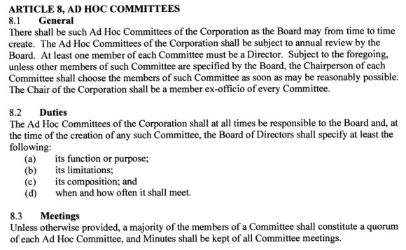BIST Bylaws article 8 committee from Ontario govt files
