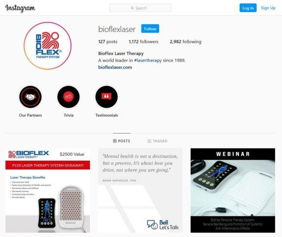 BioFlex instagram page screenshot