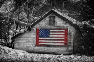 American flag on NH shed