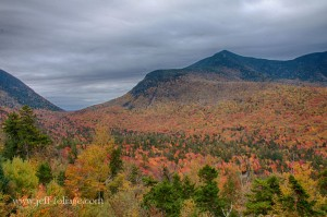 Peak fall foliage color on the Kancamagus highway in the White Mountains of New Hampshire