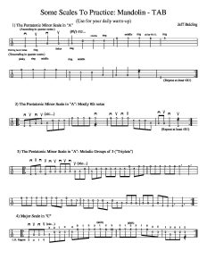 Some scales to practice for 5 String Banjo - TAB - Jeff Belding