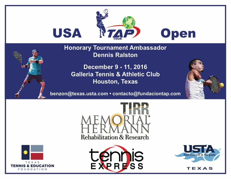 Inagural 2016 USA TAP OPEN Flyer. The event takes place in Houston, Texas allowing amputees and others with physical disabilities play tennis Standing without a wheelchair if they wish so.