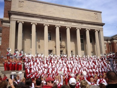 Pep rally on the steps of the main library.