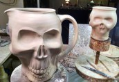 Skull Pitcher and mug in progress.