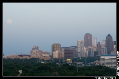 First sighting of the moon over the Dallas skyline (©2013 Jeff Burkett Photography. All Rights Reserved. This material may not be published, broadcast, rewritten, or redistributed without permission.)