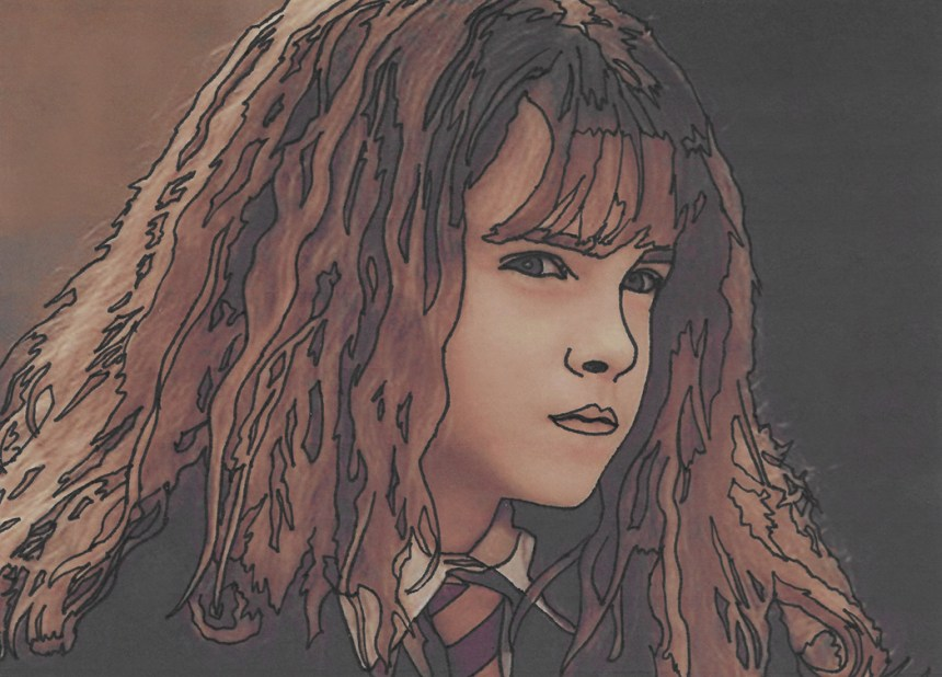Jeffcoat Art, Hermione Granger, Harry Potter, Hogwarts, Witchcraft and Wizardry, student, school, magic, bookworm, art, inking, Gryffindor