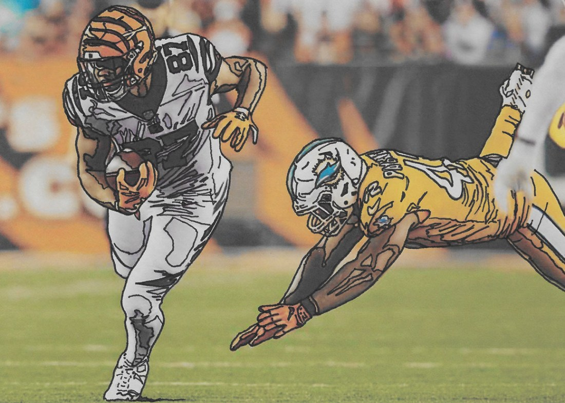 Inking of Bengals and Dolphins playing in a football game. Inkings give the image a comic book feel. Contact me at jeffcoat4747@yahoo.com to commission your own. Only $24.99 for a 5x7.