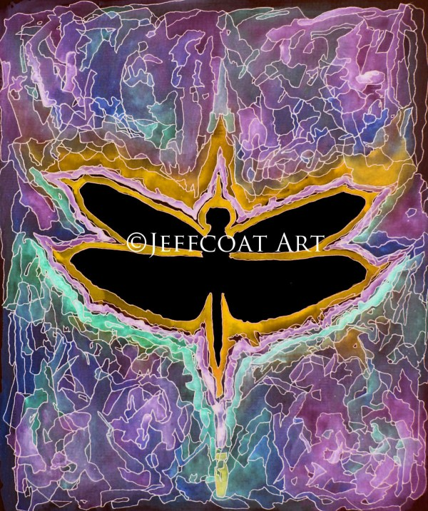 Black silhouette of a dragonfly outlined in deep yellow and lavender. The background is a blending of deep purple, blue, green, and yellow with details inked in pen to create a stained-glass look. Purchase $30 prints here by Jeffcoat Art.