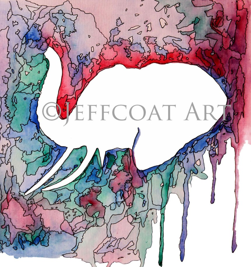 Bright colorful rainbow kaleidoscope colors inked in to look like stained-glass. Elephant's head in white silhouette in center of painting. Art done in watercolor & ink by Jeffcoat Art. Prints available on Etsy