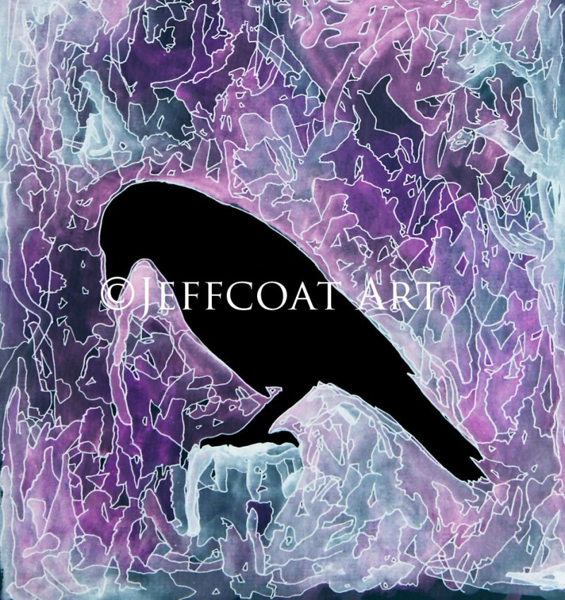 Black silhouette of raven with purple and grey watercolor background. Details are inked in with pen giving it a stained-glass look. Prints available at www.jeffcoatart.com. Or $30 Paypal purchase to jeffcoat4747@yahoo.com