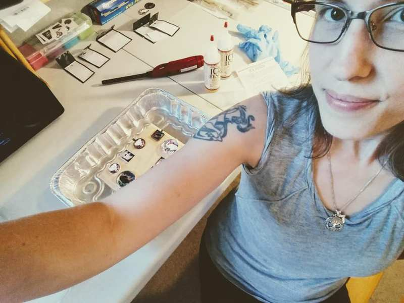 artist selfie making necklaces from my elephant watercolor paintings, art by Jeffcoat Art