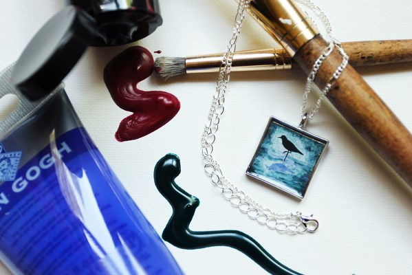 Sand Piper Blue necklace by Jeffcoat Art