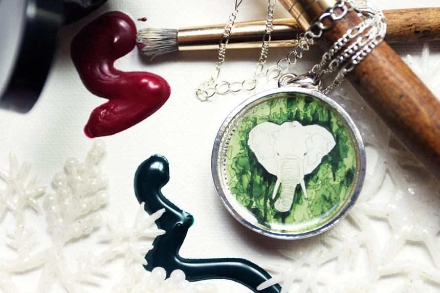 White Elephant Christmas necklace by Jeffcoat Art