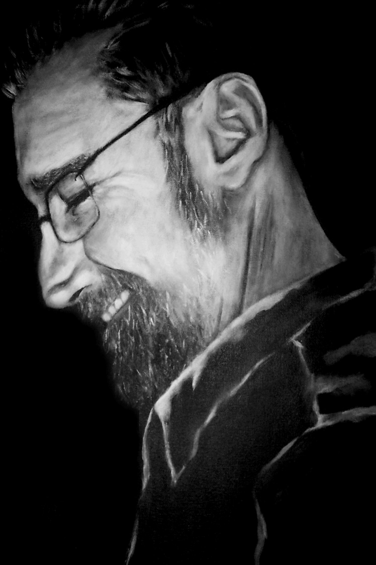 black and white portrait painting of a man who passed away