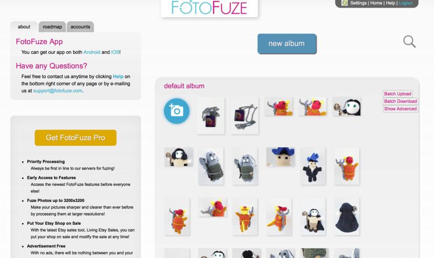 screen capture of FotoFuze account
