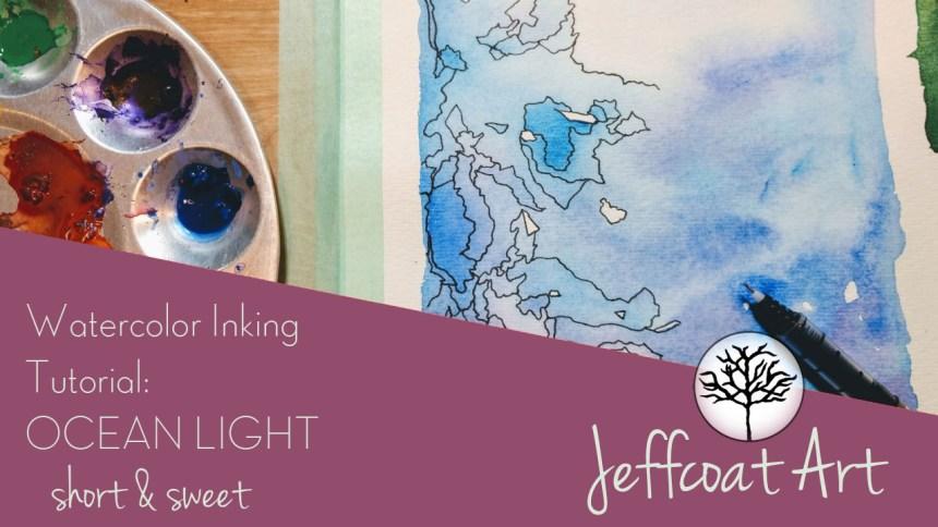 YouTube video of Jeffcoat Art doing tutorial of watercolor inking