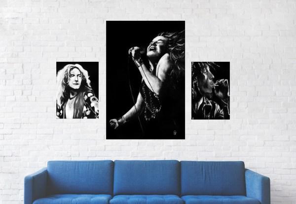 Janis Joplin,Robert Plant,Bob Marley Wall Art by Jeffcoat Art