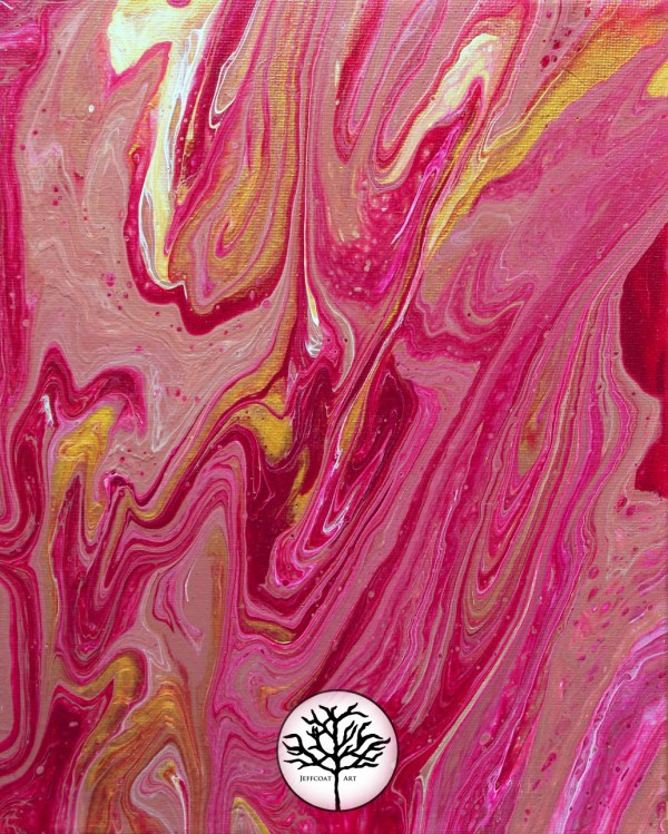 Candy Apple Acrylic Pour 11x14 art print, red, pink and gold abstract art by Jeffcoat Art