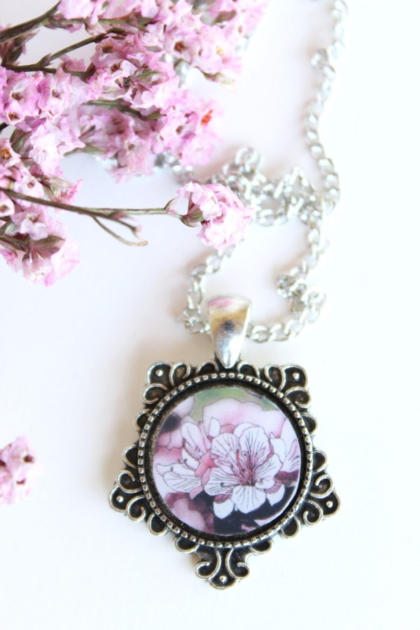 Summer Country No.1 Necklace-silver necklace with pink azaleas made by Jeffcoat Art