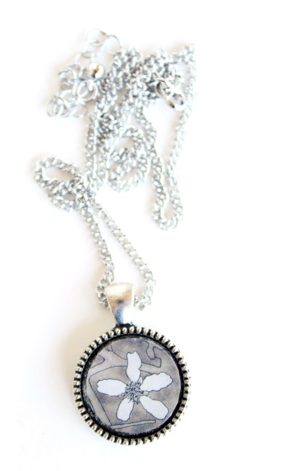 Summer Country No.6 Necklace-silver necklace with white flower inking on sepia background by Jeffcoat Art