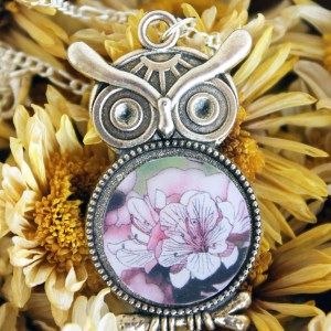 Summer Country No.8 Necklace-pink azalea art in silver owl setting handmade by Jeffcoat Art
