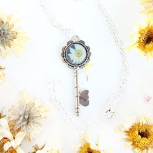 Summer Country No.9-Necklace-silver key shaped necklace featuring white wildflower inking by Jeffcoat Art