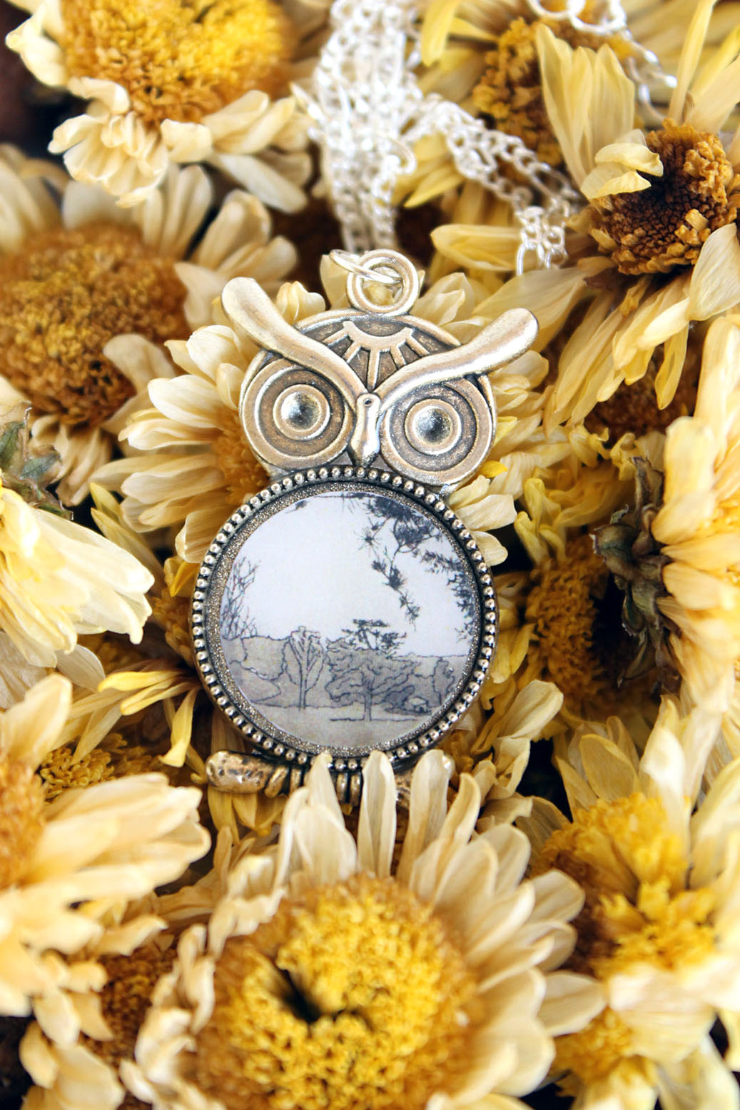 Summer Country No.2 Necklace-silver owl necklace with drawing of field and trees handmade by Jeffcoat Art