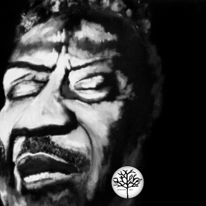 black and white painting of Muddy Waters by Jeffcoat Art