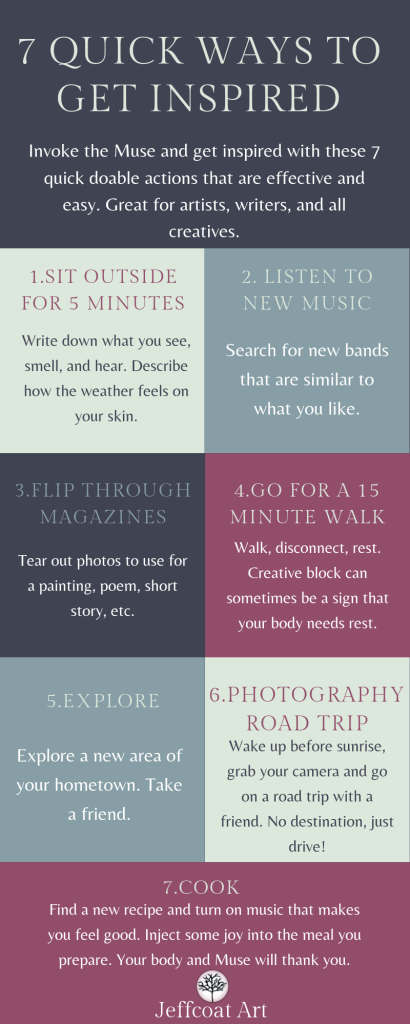 Need a Quick Inspirational Fix? Visual infographic of 7 ways to get inspired by Jeffcoat Art