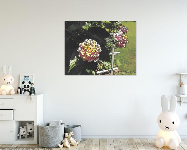 Children's room featuring yellow & pink lantana artwork. Lantana Cheerful 8x10 Wall Art mockup by Jeffcoat Art