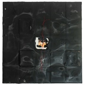 Cradled Wood Panel - Encaustic - 35mm Slides - Thread - Cinders - Ash - 10x10x1 inches - 2016