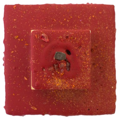 Cradled Wood Panel - Encaustic - 35mm Slides - Nail - Glass 4x4x3 inches - 2016
