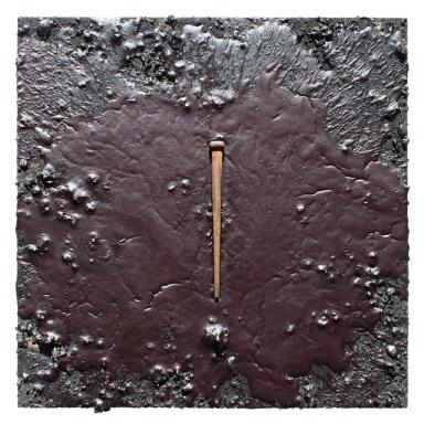 Encaustic - Nail - Cinders - 10x10x1 inches - 2017