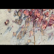 Detail. Witness Marks - Iron Implement. 12x26x1 inches. Pine board, encaustic, ash, charcoal, cinders, nails, iron implement.