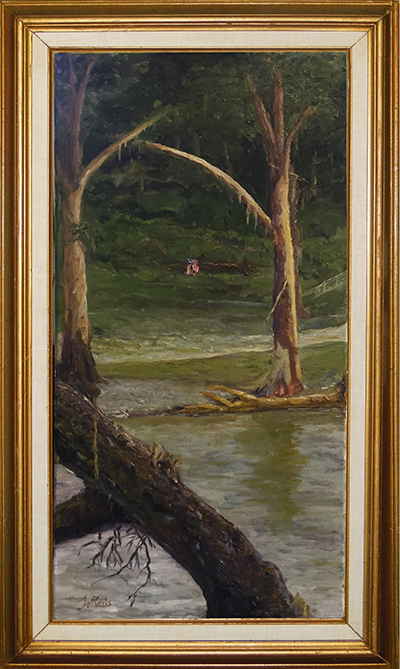 """After the Flood"" Wimberley 2015 on the Blanco While searching for a lost dog near our water park on the Blanco, I found an empty 15"" x 30"" picture frame stuck up in a tree - right across the river from where Mr. McComb was rescued. I thought I should do a painting to fill the frame and donate it to flood relief. I took a picture of the devastation nearby. Through the stripped cypress trees I saw a tattered American flag draped over the debris in the background... I felt it was a sign of hope amidst the loss. Auctioned for the Benefit https://goo.gl/eiofOW"