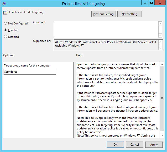 Configurando GPO para WSUS 3.0 no Windows Server 2012
